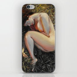Woman among the grass iPhone Skin