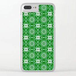 Green and Whte Star Geometric Clear iPhone Case