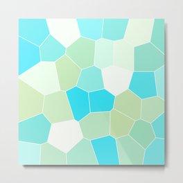 Aqua and Sage Geometric Metal Print