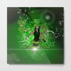 Happy St. Patrick's day with beautiful girl Metal Print