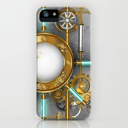 Steampunk Round Banner with Pressure Gauge iPhone Case