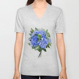 Hydrangea Flowers, floral sky blue soft green Sage colored art Unisex V-Neck