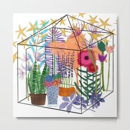 Garden Flowers Greenhouse Metal Print