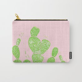 Linocut Cactus #1 Minty Pinky Carry-All Pouch