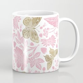 Elegant Rosewater Pink Gold Butterfly Floral Pattern Coffee Mug