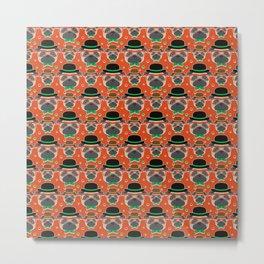 Hipster Pug Pattern Metal Print