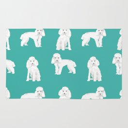 Toy poodle white poodles dog breed pet portrait pattern gifts pet friendly Rug