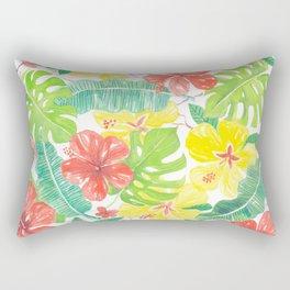 Tropical garden, hibisus, plumeria and palm leaves Rectangular Pillow