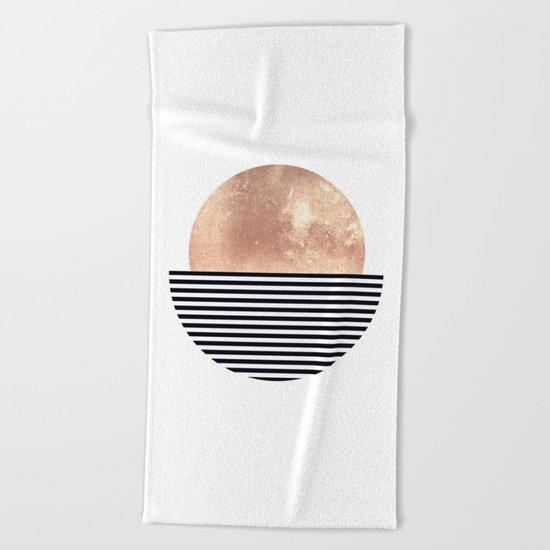 Rose Gold Sun - Scandinavian Art Beach Towel