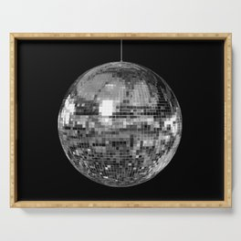 Silver Mirrored Disco Ball Serving Tray