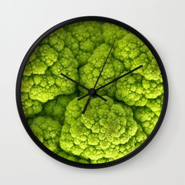 Green Cauliflower Macro Wall Clock