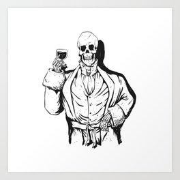 Vampire skeleton holding blood cup -  black and white Art Print