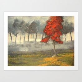 The Red Blossom Tree Art Print