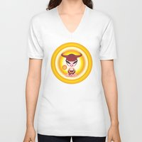 taurus V-neck T-shirts featuring Taurus by HanYong