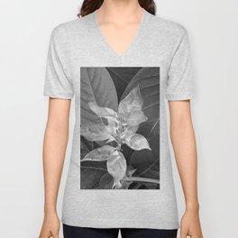 Flower #1 Black and White Unisex V-Neck