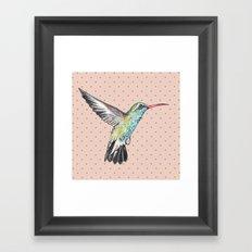 Hummingbird and polka dots Framed Art Print