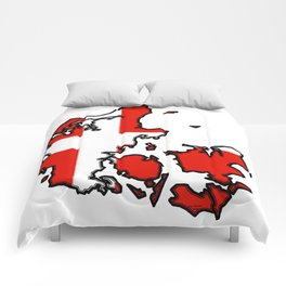 Denmark Map with Danish Flag Comforters