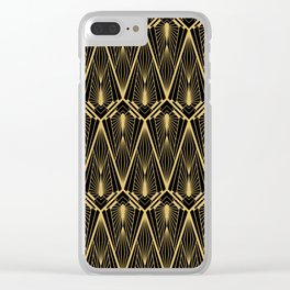 Art Deco Squares and Diamonds of Gold Clear iPhone Case
