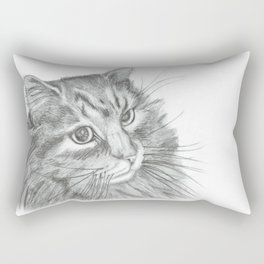 Fluffy Cat Pencil Drawing Rectangular Pillow