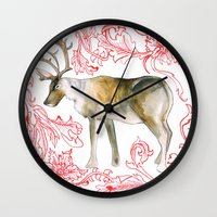 reindeer Wall Clocks featuring Reindeer by Naomi Bardoff