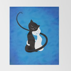 White And Black Cats In Love Throw Blanket