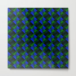 Tile of bright blue squares and triangles in green. Metal Print
