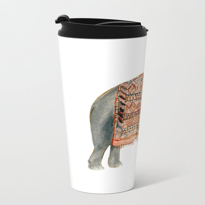 Riding Elephant Metal Travel Mug