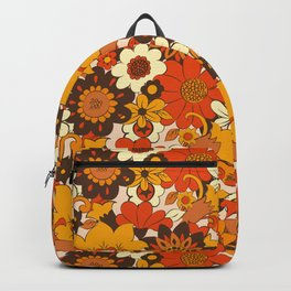 Retro 70s Flower Power, Floral, Orange Brown Yellow Psychedelic Pattern Backpack