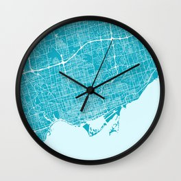 Toronto Map | Canada | Blue & Cyan | More Colors, Review My Collections Wall Clock