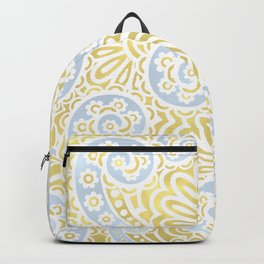 petal paisley in silver + gold Backpack