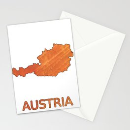 Austria map outline Sunny orange clouded watercolor Stationery Cards