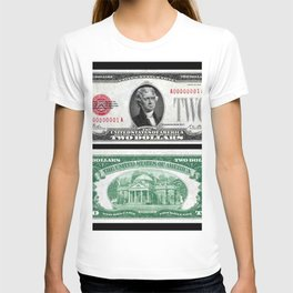 1928 Red Seal Jefferson Two Dollar Bill Bank Note T-shirt