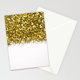 Glam White & Gold Glitter Ombre Stationery Cards