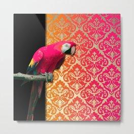Pink Parrot & Vibrant Damask Print Metal Print