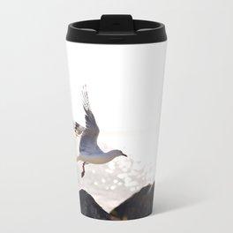 Seagull takes flight over Dunedin's MacAndrew Bay Metal Travel Mug