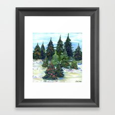 Field of Christmas Trees Framed Art Print