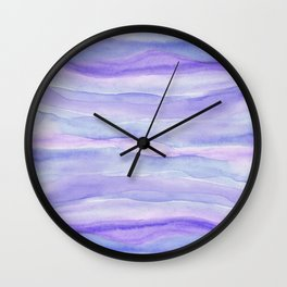 Ultra Violet Watercolor Layers Wall Clock