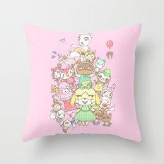 Animal Crossing (pink) Throw Pillow