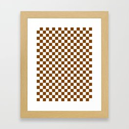 Small Checkered - White and Chocolate Brown Framed Art Print