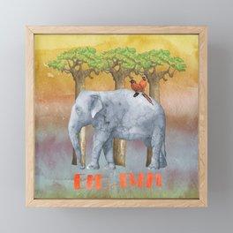 ELE FUN - Elephant Elephants Africa Watercolor Illustration Framed Mini Art Print