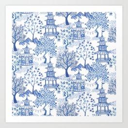 Pagoda Forest Blue and White Kunstdrucke