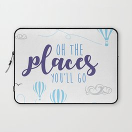 OH THE PLACES YOU'LL GO - HOT AIR BALLOON BLUE Laptop Sleeve