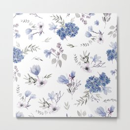 Floral Pattern - Classic Blue and White Metal Print