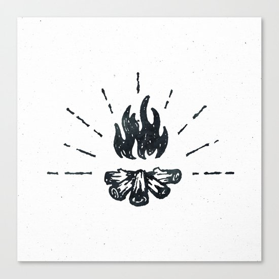 Campfire Black and White Flames Vintage Canvas Print