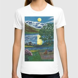 Planting the Spring Crops Lakeside under the yellow May Moon landscape painting by Nikolai Astrup T-shirt