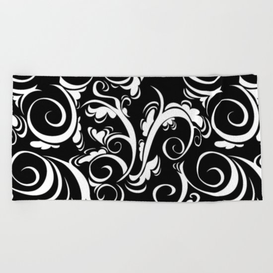 Black White Flora Beach Towel