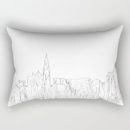 Galway, Ireland Skyline B&W - Thin Line Rectangular Pillow