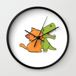 "Cool Dinosaur Tee For Animal Lovers ""Cat Hugging A Dinosaur"" T-shirt Design Jurassic Park Reptiles Wall Clock"