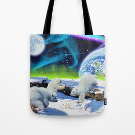 Joyful - Polar Bear Cubs and Planet Earth Tote Bag