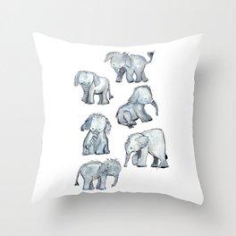 Little Elephants Throw Pillow